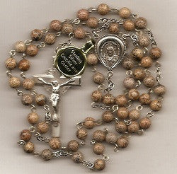 Jasper Stone Beads with Sterling Center and Crucifix
