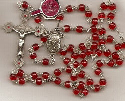 Red Rosary, Capped Round Beads, Sterling Center and Crucifix