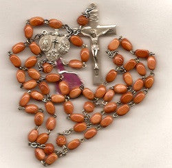 Wood Oval Bead Rosary with Sterling Center and Crucifix