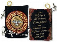 """Come Holy Spirit"" Tapestry Rosary Pouch in 2 Colors"