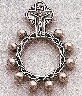Metal Pocket Rosary with Crucifix and Our Lady of Grace