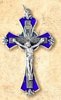 "Small Silvertone and Blue Crucifix - 1.75"" long"