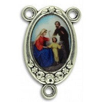 Colorful Rosary Center in three styles, Silver Oxide