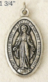 Miraculous Medal, Large, Silver Oxide