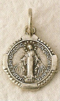 Miraculous Medal, Small, Round, Silver Oxide