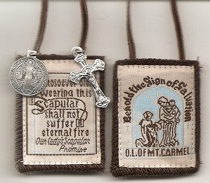 Our Lady of Mt. Carmel Scapular with Brown or White Cord