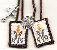 Child's Brown Scapular with White or Brown Cord