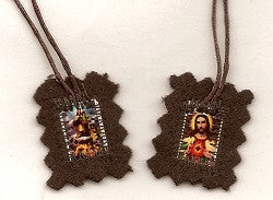 Brown Scapular - Small - with Sturdy Cord