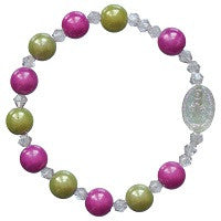 Childs Stretch Rosary Bracelet In Four Color Combinations