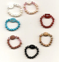 Stretch Gemstone or Freshwater Pearl Rosary Finger Rings