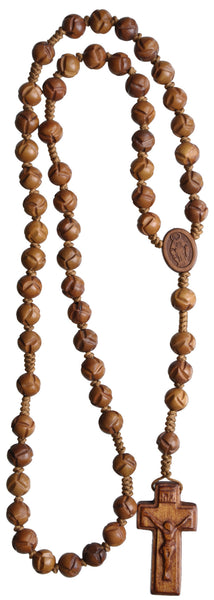 Jujube Light Wood Carved Rosary Beads - 10 MM