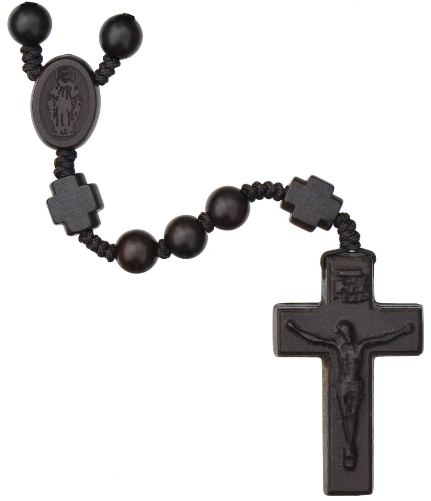 Jujube Wood Rosary Beads with 8MM Beads and Cross Our Father Beads