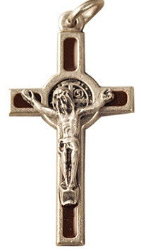 St. Benedict Crucifix - Brown and Silvertone - 1.5""