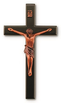 Black and Wood Tone Wall Crucifix - 8""