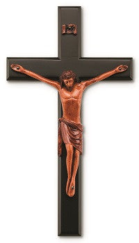 Black and Wood Tone Wall Crucifix - 12""