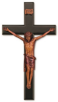 Black and Wood Tone Wall Crucifix - 16""