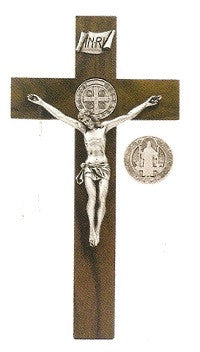 Walnut Crucifix with St. Benedict Medal and Silver Corpus - 12""