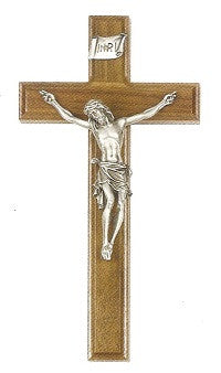 Beveled Edge Walnut Crucifix  with Pewter Corpus - 10""