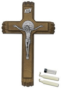 St. Benedict Sick Call Crucifix with Silver Medal and Corpus