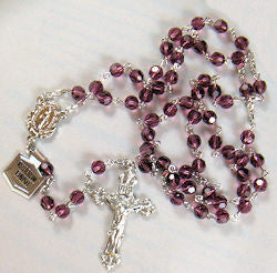 Amethyst Crystal Rosary, Rhodium Finish