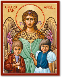 Guardian Angel with Children Icon, US Made
