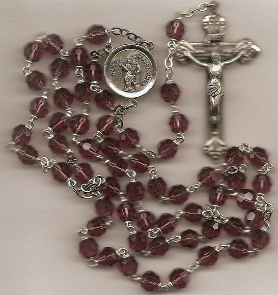 Amethyst Crystal Rosary with Sterling Center and Crucifix