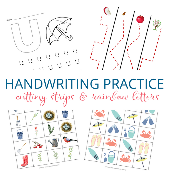Handwriting Practice Bundle - Rainbow Letters & Cutting Strips