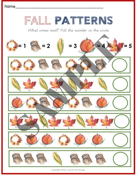 Early Math: Pattern Cards with a Fall Theme - Carrots Are Orange - 1