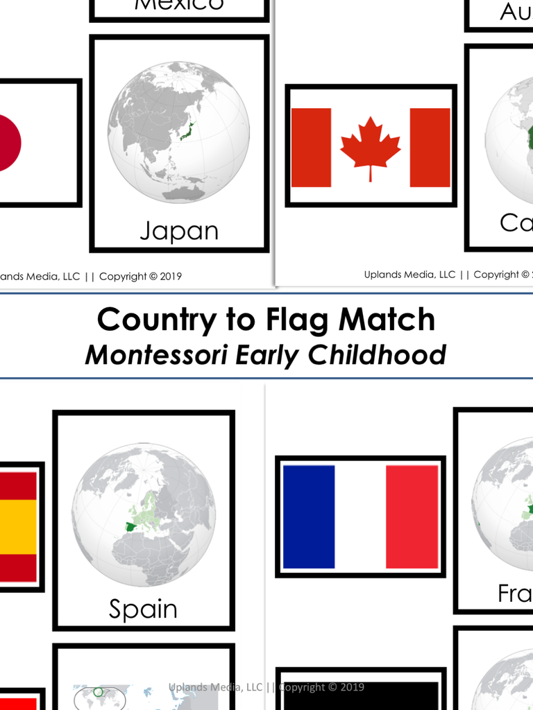 photo about Printable Country Flags referred to as Montessori State towards Flag Game