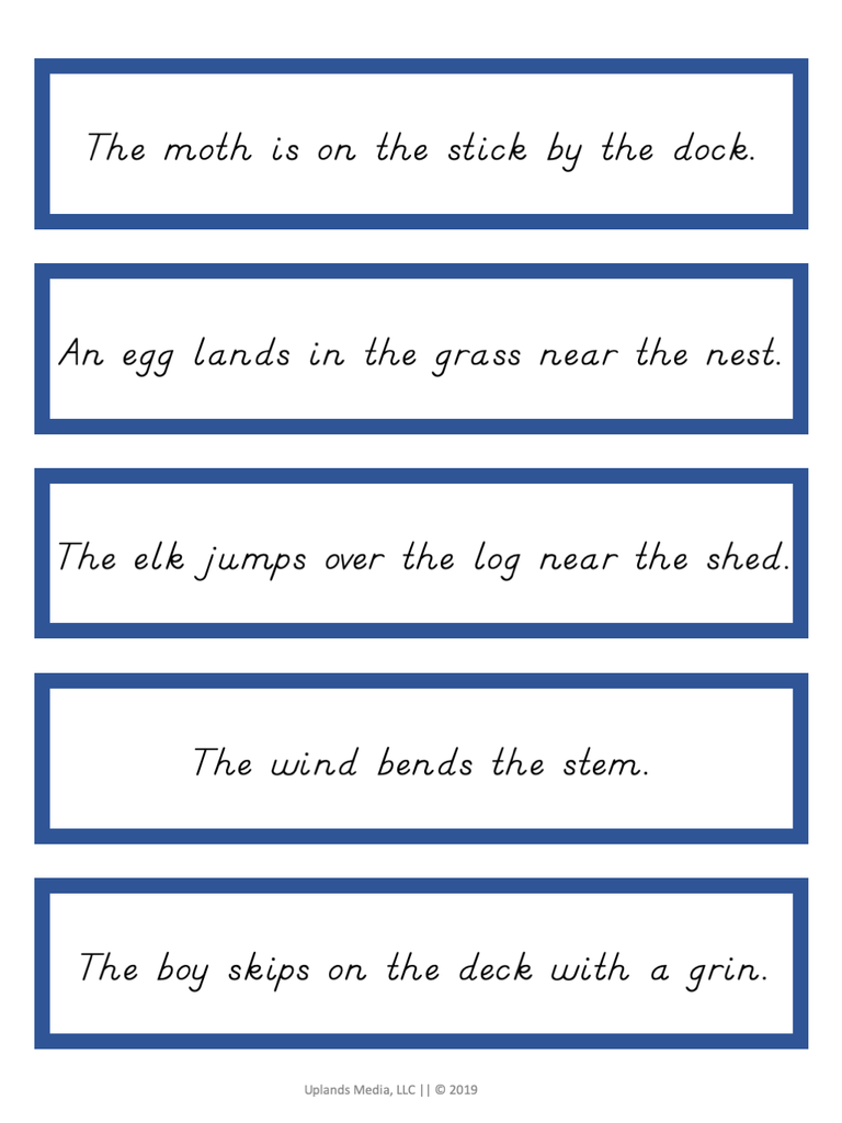 image about Sentence Strips Printable referred to as Montessori Language - Blue Position Sentence Strips
