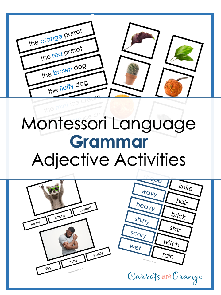 Montessori Grammar - Adjectives Activities Pack
