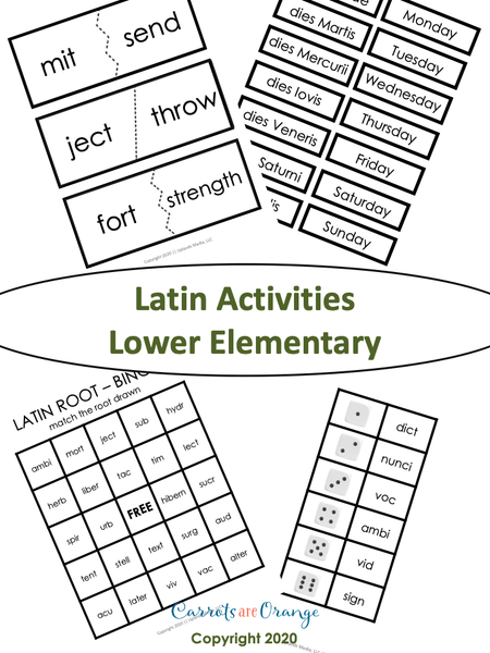 Montessori Language - Latin Activities Pack