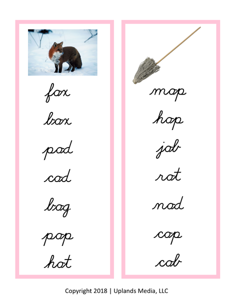 Montessori Language - Pink Series Short Vowel Word Lists