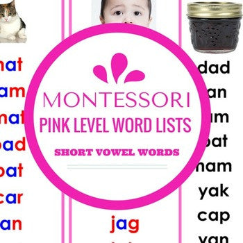 Montessori Pink Series Short Vowel Word Lists - Carrots Are Orange