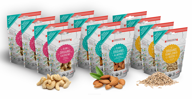 Snack Pack Size - 4 packs each of - 2 oz. Organic Almonds, 2 oz. Organic Cashews & 2 oz. Sunflower (total 12 packs)