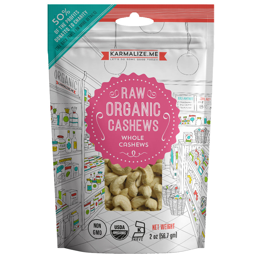 Snack Pack Size 2 oz. Organic Cashews - pack of 12.
