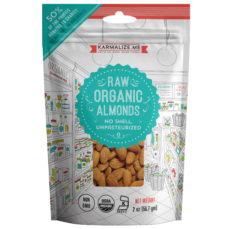 Snack Pack Size 2 oz. Organic Raw Almonds - pack of 12
