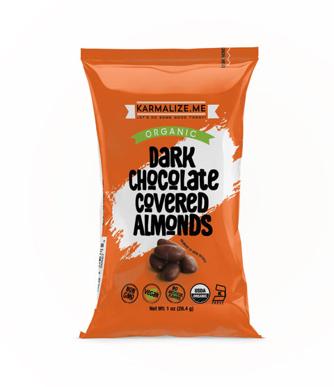 1 oz. Organic Vegan Dark Chocolate Covered Almonds - Pack of 6.