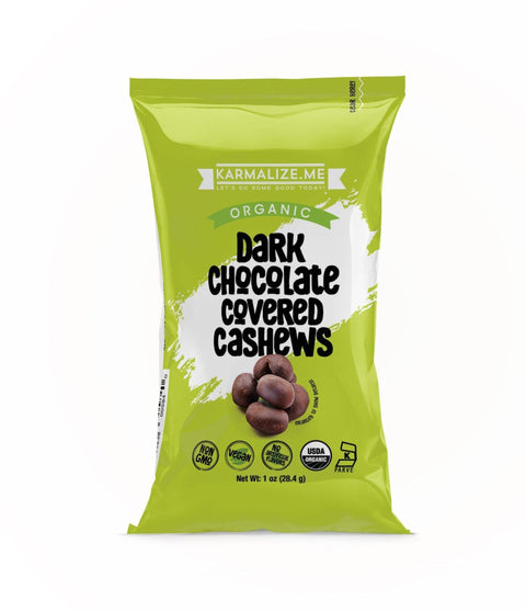 1 oz. Organic Vegan Dark Chocolate Covered Cashews - Pack of 6.