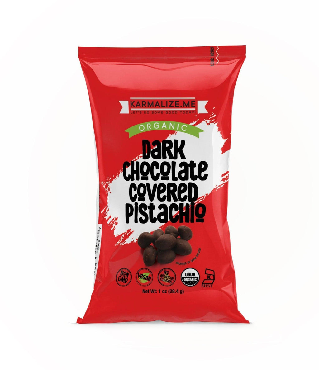 1 oz. Organic Vegan Dark Chocolate Covered Pistachio - Pack of 6.
