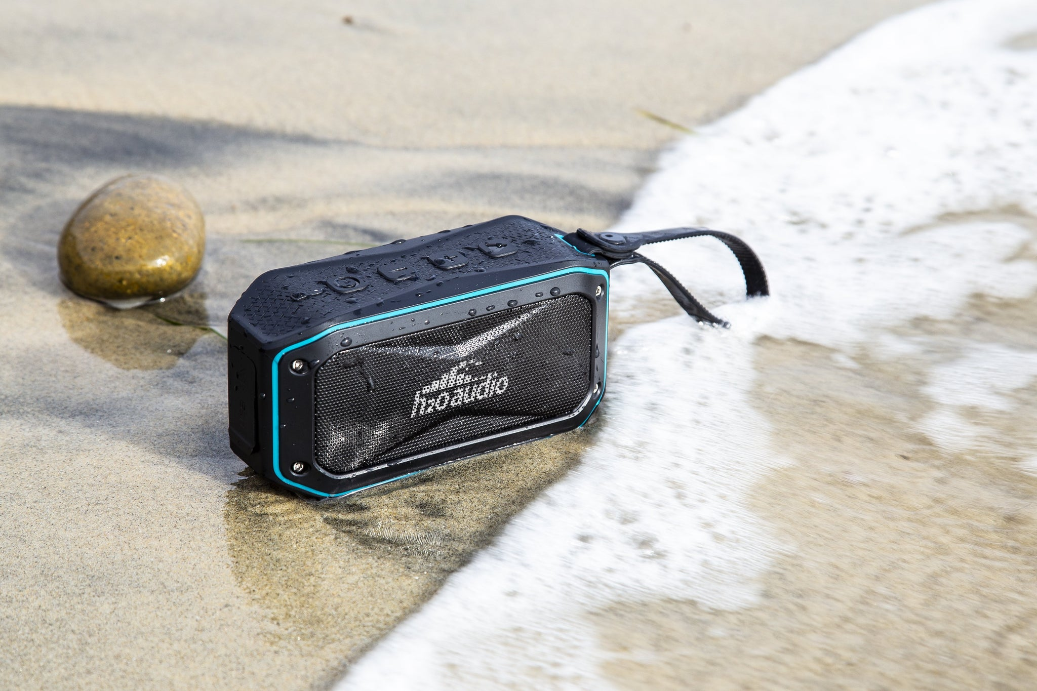 The Float is a portable Bluetooth speaker that is waterproof, making it perfect for the beach, pool or lake. It's made by H2O Audio, a company that specializes in waterproof headphones and accessories.