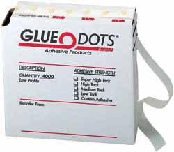 "Glue Dots®, rolls of 4,000 dots, low profile (about .014"" thick)"