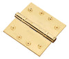 "Functional SQ Corner Hinge 4"" x 4"" Solid Brass"