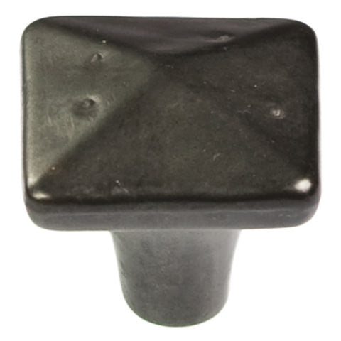 1-1/4 In. Square Carbonite Black Iron Cabinet Knob