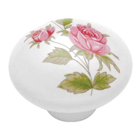 1-3/8 In. English Cozy Pink Rose Cabinet Knob