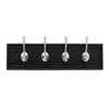 "4 Hook 20"" Cottage Hook Rail, Black in Chrome"