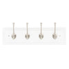 "4 Hook 20"" Cottage Hook Rail, White in Satin Nickel"