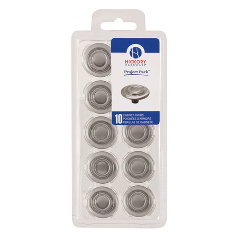 Project-Pack 1-1/4 In. Cavalier Satin Nickel Cabinet Knob 10-Pk