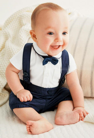 Baby Boy Bow Tie Shirt and Blue Jumper Set