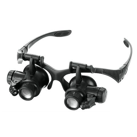 10X 15X 20X 25X Multi LED Magnifier Double Eye Glasses Lens + 2 LED Lights Magnifier Measurement Tools